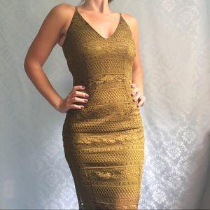 NWT H&M Green Lace Sleeveless Midi Dress